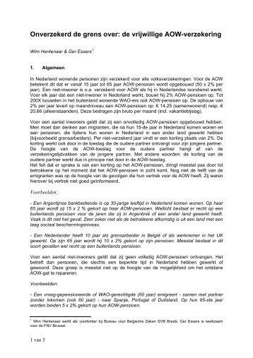 AOW-verzekeringen in het buitenland - Grensgangers.nl