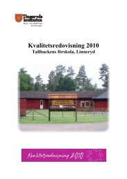 Kvalitetsredovisning 2010 Tallbackens förskola - Tingsryds kommun