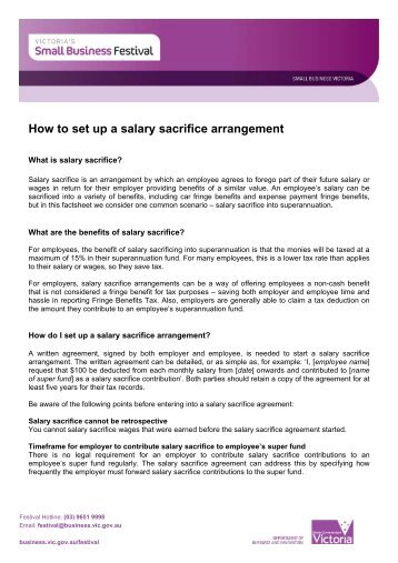 Standard Salary Sacrifice Agreement Club Super