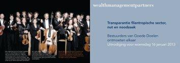 Transparantie filantropische sector, nut en noodzaak Bestuurders ...