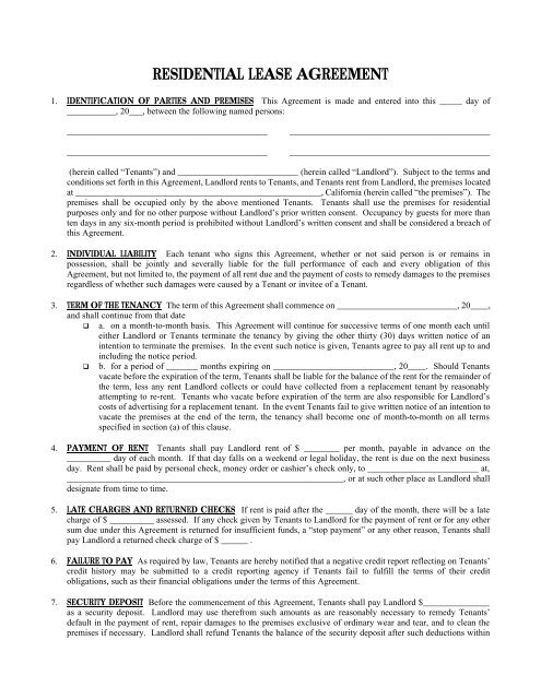 Residential Lease Agreement Free Legal Forms