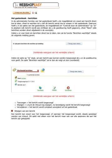 berichten In de administrator functies van het ... - Webshop Easy