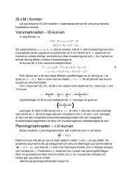 IS-LM i formler Varumarknaden - IS-kurvan Penningmarknaden ...