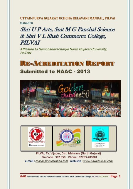 Re-Acreditation Reports Submitted to NAAC - Pilvai College of Arts
