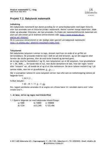 Projekt 7.2. Babylonsk matematik - Gymportalen