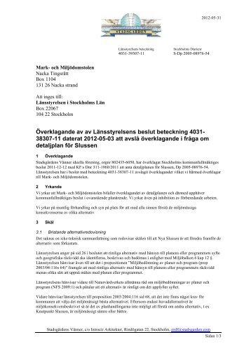 Överklagan till Mark&Miljö - Knutpunkt Slussen