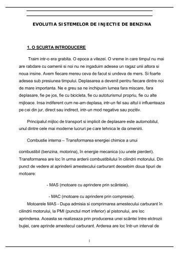 EVOLUTIA SISTEMELOR DE INJECTIE DE BENZINA 1. O SCURTA ...