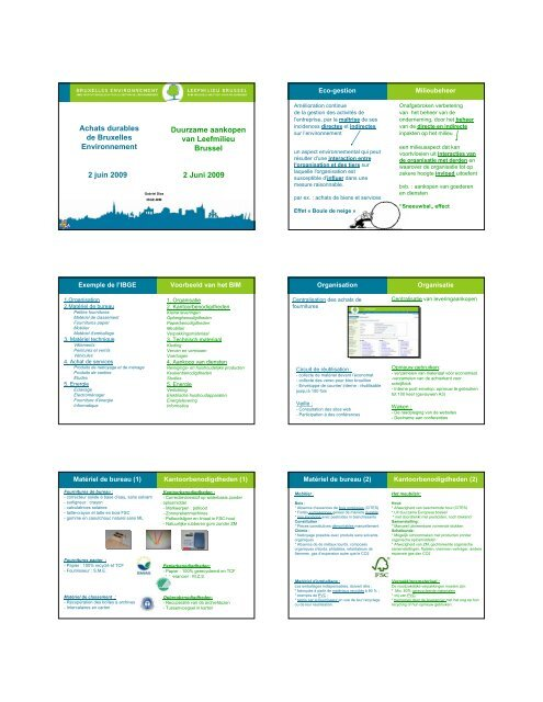 Achats durables de Bruxelles Environnement Duurzame ... - IBGE