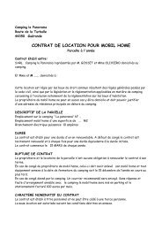 contrat residentiel mobil home 2012 - Camping Le Panorama