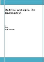 Redovisat eget kapital i ba - Bengtsson, Bengt, Redovisning till ...