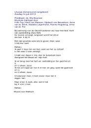 Liturgie Zomeravond-zangdienst Zondag 14 juli 2013 Predikant: ds ...