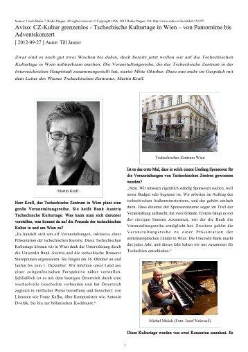 Aviso: CZ-Kultur grenzenlos - Tschechische Kulturtage in Wien ...