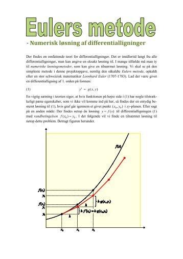 Numerisk løsning af differentialligninger - Vestergaards Matematik ...