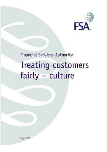 Treating customers fairly - culture - Financial Conduct Authority