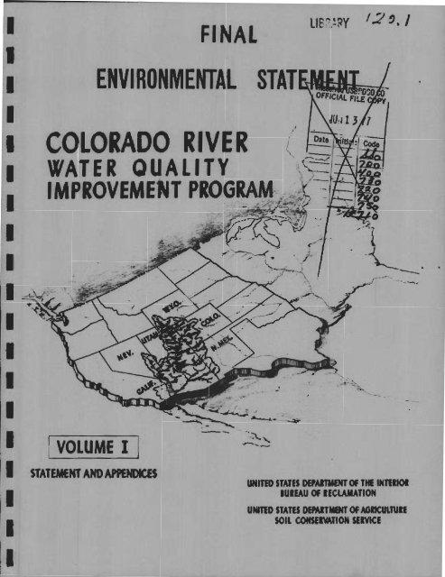 Colorado River Water Quality Improvement Program, Final