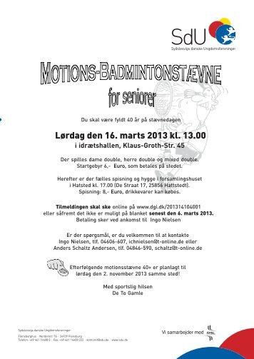 Lørdag den 16. marts 2013 kl. 13.00 - SdU