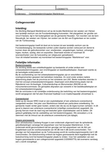 ontwerpbestemmingsplan mariënkroon - Gemeente Heusden