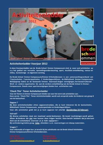 Activiteitenladder Voorjaar 2012 - OBS De Meent