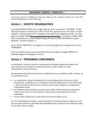 Article 1 – SOCIETE ORGANISATRICE Article 2 – PERSONNES ...