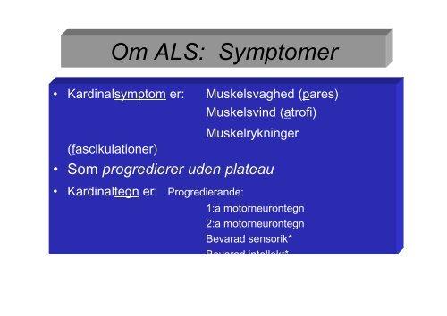 Symptomer på als