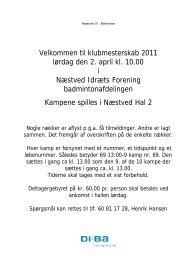 Velkommen til klubmesterskab 2011 lørdag den 2. april - Næstved ...