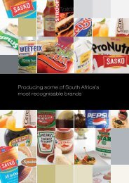 Producing some of South Africa's most ... - Pioneer Foods