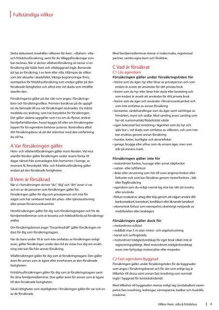 Försäkringsvillkor för hem, villa och fritidshus