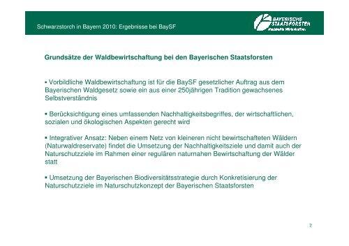 Schwarzstorch in Baysf-Wäldern Ergebnisse der Umfrage