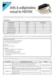 FWF-FWC fancoils Driftsmanual - Daikin