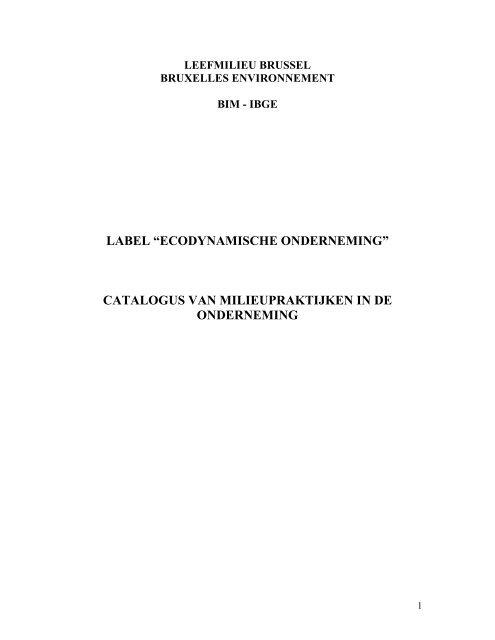 catalogus van milieupraktijken in de onderneming - IBGE