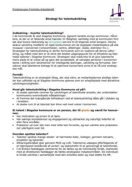 Strategi for talentudvikling - Slagelse Kommune
