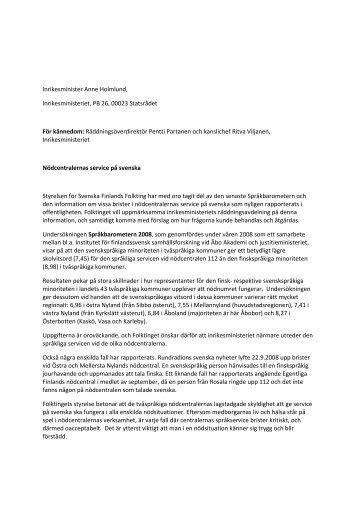 Inrikesminister Anne Holmlund, Inrikesministeriet, PB 26, 00023 ...