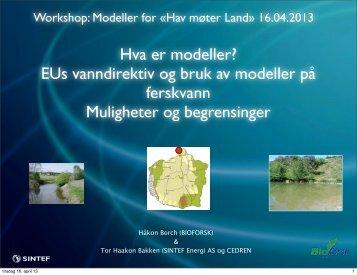Hva er modeller? EUs vanndirektiv og bruk av modeller på ...