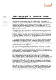 """Danskhedsreform"""": Giv os Danmark tilbage - Cevea"""