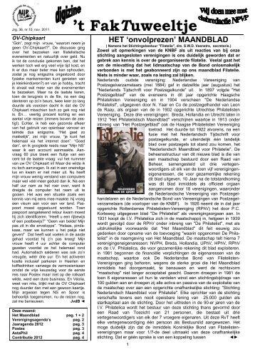 Jrg. 36, nr.10, nov. 2011 - Eerste Kerkraadse Philatelisten Vereniging