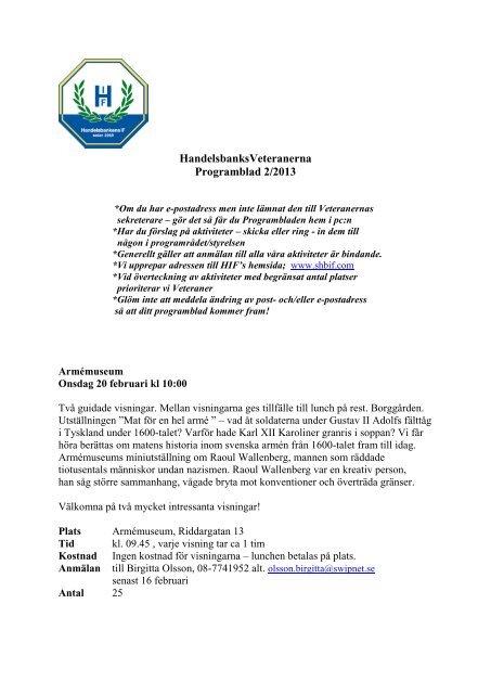 HandelsbanksVeteranerna Programblad 2/2013 - Handelsbankens IF