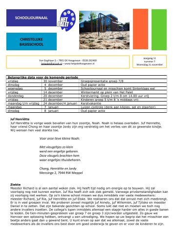 schooljournaal 21 november - PricoH