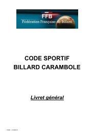 CODE SPORTIF BILLARD CARAMBOLE - Le Billard