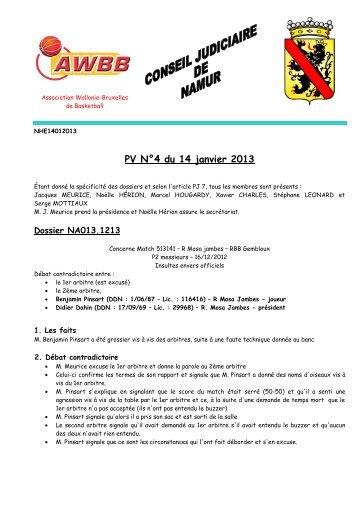 Rapport du 14 janvier 2013 - AWBB