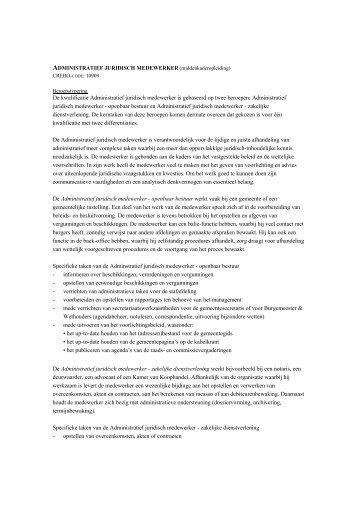 De kwalificatie Administratief juridisch medewerker is ... - Ecabo