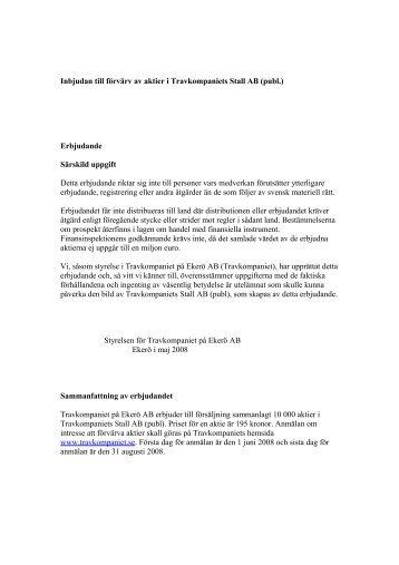 Inbjudan till förvärv av aktier i Travkompaniets Stall AB (publ)