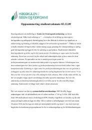Oppsummering studieutvalet 3. desember 09 - Høgskulen i Sogn og ...