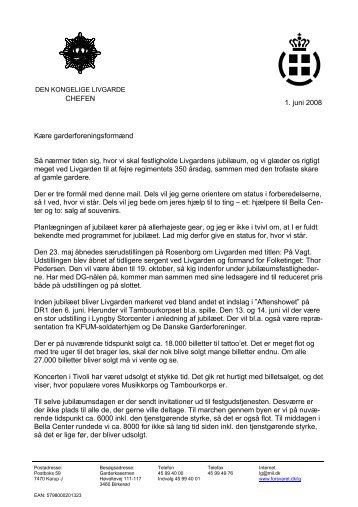1. juni 2008 CHEFEN Kære garderforeningsformænd Så nærmer ...