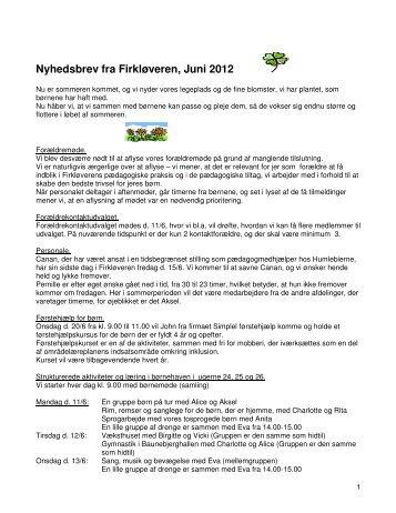 Nyhedsbrev fra Firkløveren, Juni 2012
