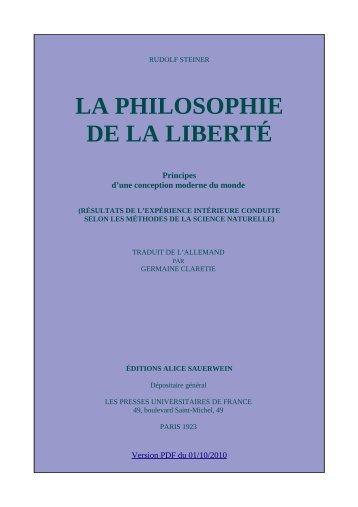 LA PHILOSOPHIE DE LA LIBERTÉ - Fichier PDF