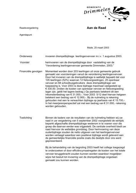 Raadsvoorstel invoeren drempelbijdrage leerlingenvervoer m.i.v. 1 ...