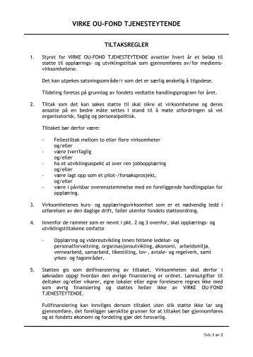 Tiltaksregler - Virke