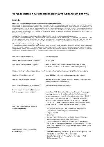 Vergabekriterien für das Bernhard Mauve-Stipendium ... - VAD-Stiftung