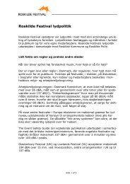 læs mere om lydpolitikken - Roskilde Festival
