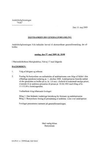 Den 15. maj 2009 - Andelsforeningen AB NIFA
